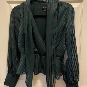 Bardot Peplum Green Sheer Sleeve Top